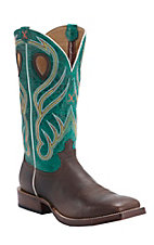 Twisted X Men's Saddle Brown with Teal Top Double Welt Square Toe Western Boots