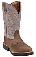 Twisted X Men's Distressed Saddle w/ Denim Top Steel Toe Cowboy Work Boots