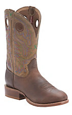 Twisted X� Men's Copper Brown with Hazzle Top Round Toe Stockman Boot