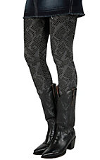 Angie� Women's Black & Grey Snake Print Leggings