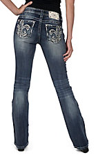 Miss Me Medium Wash Crystal Fleur de Lis Open Pockets Relaxed Boot Cut Jeans