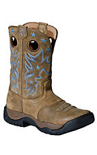 Twisted X Ladies Brown Bomber w/ Blue Stitch Saddle Vamp Round Toe Work Boot