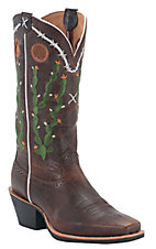 Twisted X® Ladies Brown Walnut w/ Green Cactus Embroidery Square Toe Western Boots