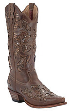 Twisted X® Steppin Out™ Ladies Chocolate w/ Python Print Inlay Snip Toe Western Boots