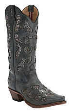 Twisted X® Steppin Out™ Ladies Charcoal w/ Python Print Inlay Snip Toe Western Boots