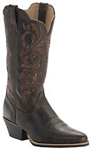 Twisted X Women's Chocolate w/Floral Embroidered Top R-Toe Western Boots