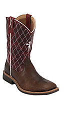 Twisted X® Youth Pebble Brown with Red Cross Diamond Stitch Square Toe Western Boot