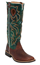 Twisted X® Youth Cognac with Turquoise Tall Top Square Toe Buckaroo Western Boots