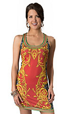 Billy™ by Flying Tomato® Coral with Gold Scroll and Grey Leopard Print Sleeveless Dress