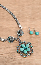 Wear N.E. Wear® Turquoise and Silver Flower Pendant w/ Rose Accents Necklace Jewelry Set