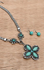 Wear N.E. Wear® Turquoise and Silver Cross Pendant w/ Floral Accents Necklace Jewelry Set