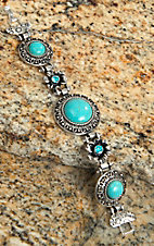 Wear N.E. Wear® Silver and Turquoise Antique Pendant and Flower Bracelet