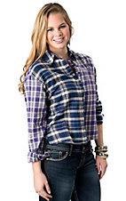 Flying Tomato® Women's Blue and Purple Plaid Hi-Lo Long Sleeve Button Down Fashion Top