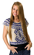 Flying Tomato® Women's Cream with Blue Aztec Print Knit and Sheer Short Sleeve Fashion Top