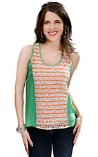 Flying Tomato® Women's Green with White Lace and Neon Orange Stripes Sleeveless Fashion Tank