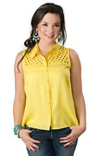 Flying Tomato® Women's Lemon Yellow with Lattice Sleeveless Button Down Fashion Top