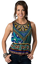Billy™ by Flying Tomato® Black, Green, Blue and Yellow Sleeveless Top