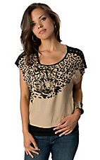 Billy™ by Flying Tomato® Taupe & Black Leopard Short Sleeve HiLo Fashion Top