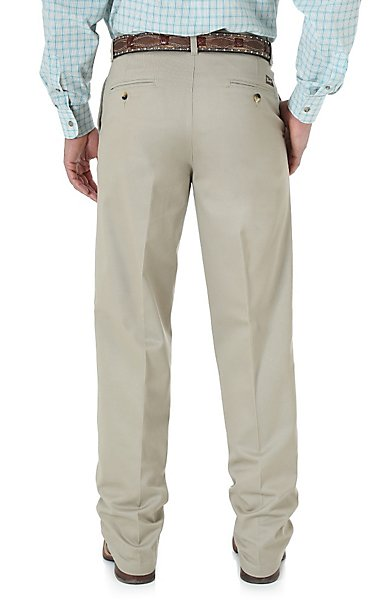 Wrangler Riata Men's Khaki Flat Front Casual Relaxed Fit Pants ...