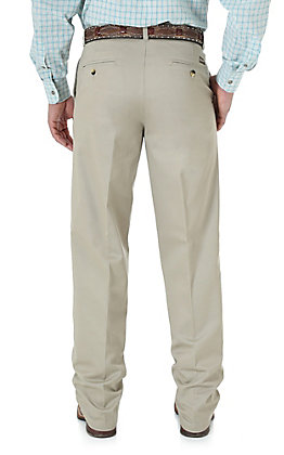 Wrangler Riata Men's Khaki Flat Front Casual Relaxed Fit Pants - Long