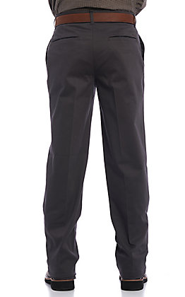 Wrangler Men's Casual Charcoal Flat Front Relaxed Fit Pants