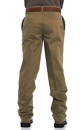 Wrangler Men's Casual Dark Khaki Flat Front Relaxed Fit Pants