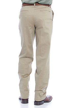 Wrangler Men's Khaki Flat Front Relaxed Fit Wrinkle Resistant Casual Pants - Tall