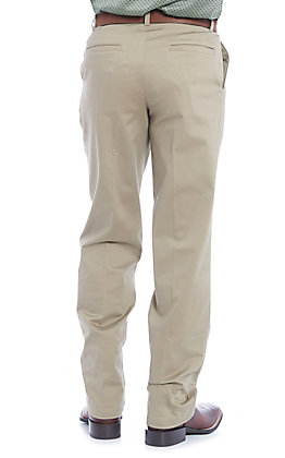Wrangler Men's Khaki Flat Front Relaxed Fit Wrinkle Resistant Casual Pants
