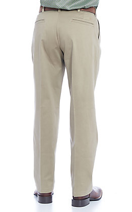 Wrangler Men's Khaki Pleated Front Relaxed Fit Wrinkle Resistant Casual Pants