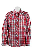 Roper Women's Red & Grey Plaid with Roses Long Sleeve Western Shirt- Plus Sizes