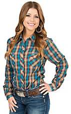Roper Women's Brown & Turquoise Karman Long Sleeve Plaid