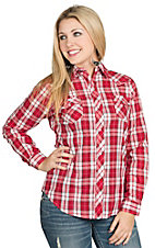 Roper Women's Red and White Plaid With Black Scroll Embroidery Western Shirt