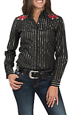 Roper Women's Black Lurex with Rose Embroidery Western Shirt