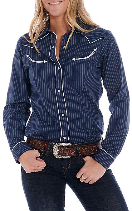 2182afd67e Roper Women's Navy Thin Striped Long Sleeve Western Shirt