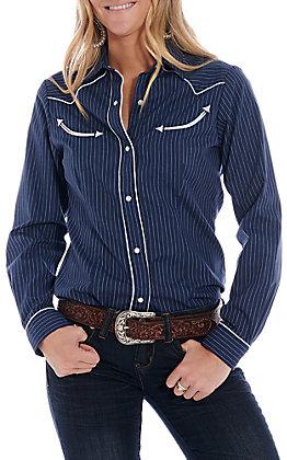 Roper Women's Navy Thin Striped Long Sleeve Western Shirt