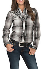 Roper Women's Black Plaid with Embroidered Detail and Smile Pockets