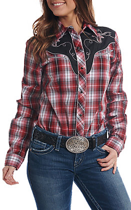 0ec4676c49 Roper Women s Red   Black Plaid Long Sleeve Retro Western Shirt