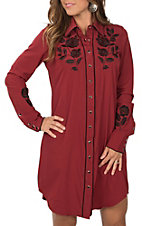 Roper Women's Red Old West with Black Floral Embroidery L/S Western Dress