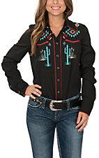 Roper Women's Black Old West Aztec Cactus Embroidered L/S Western Snap Shirt