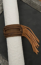 Jewelry Junkie Brown Leather with Fringe Accent Cuff Bracelet