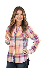 Tin Haul Women's Purple and Yellow Plaid Aztec Back Long Sleeve Western Snap Shirt