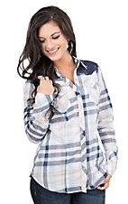 Tin Haul Women's Navy Plaid with Crochet Yoke Long Sleeve Western Snap Shirt