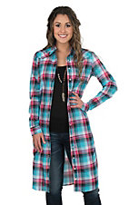 Tin Haul Women's Turquoise and Purple Plaid Long Sleeve Duster Shirt