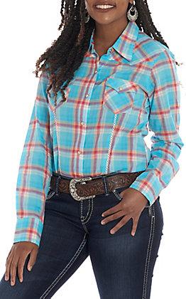Tin Haul Women's Turquoise Plaid Long Sleeve Western Shirt
