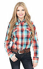 Roper Women's Orange and Turquoise Plaid Long Sleeve Western Snap Shirt