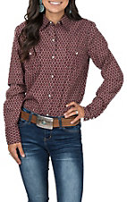Roper Women's Red and Black Print Logo Sleeve Western Shirt