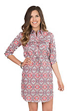 Tin Haul Women's Pink Aztec Print 3/4 Sleeve Button Up Shirt Dress