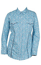 Roper Women's Blue and Navy with Navy Accents Long Sleeve Western Shirt - Plus Sizes