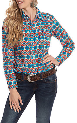 Tin Haul Women's Aztec Print Long Sleeve Western Shirt
