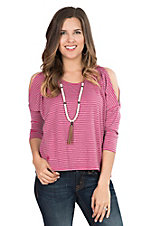 Tin Haul Women's Pink and Grey Striped Cold Shoulder 3/4 Sleeve Fashion Top
